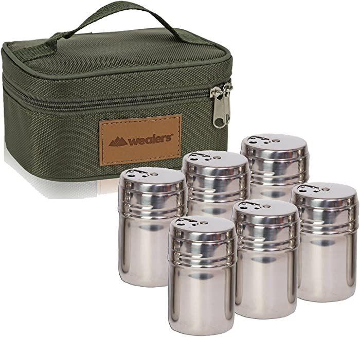 Portable Stainless Steel Spice Shaker Seasoning Dispenser - 6 Pc Set with Rotating Lids and Travel Bag| Spice Jars - Salt and Pepper Shakers - Dry Herb Spice Condiment Dispenser |Camping|Hiking|BBQ