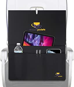 Airplane Pockets, Sanitary Tray + Table Cover with Pockets for Planes, Patented Design with Multiple Compartments, Travel Organizing Accessory for Comfortable Flight