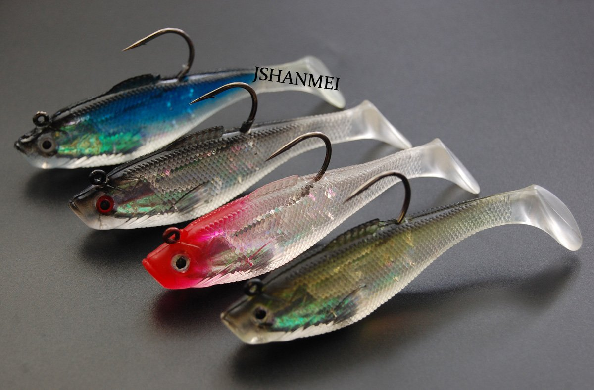 6cm//8cm//10cm Rigged Minnow Soft Lures Swim Shad Swimbaits Lead Head Jig Hooks Topwater Lures Spinnerbait Crankbait for Bass,Walleye,Pike,etc