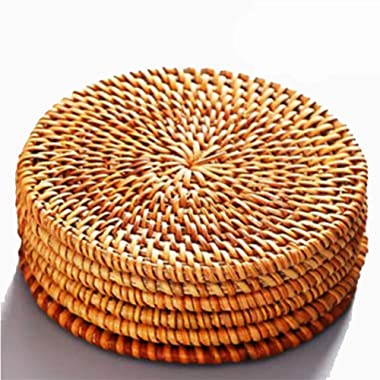Rattan Coasters, Coasters for Drinks,Round Cup Mat, Drink Spills Coasters SET 6 PCS