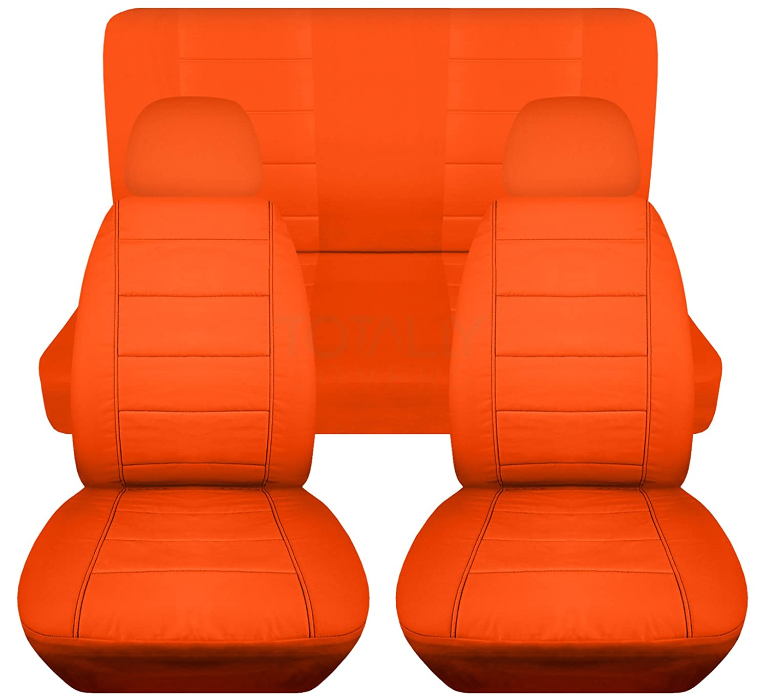 Front Buckets /& Rear Bench Universal Fit Option for Airbag//Seat Belt//Armrest//Release//Lever//Split Compatible Full Set Solid Car Seat Covers w 2 Front Headrest Covers: Burgundy