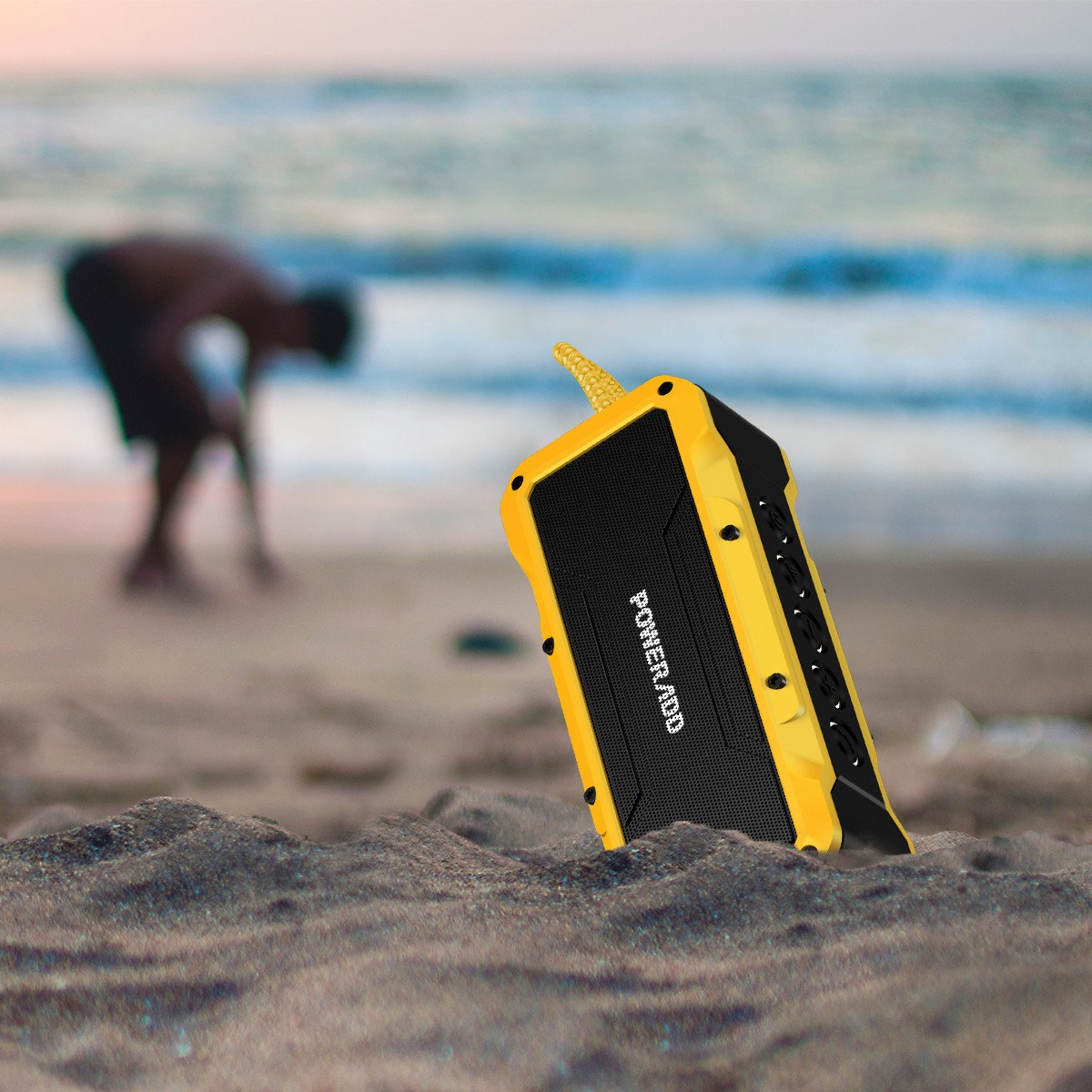 Poweradd MusicFly Outdoor Portable Bluetooth Speaker, 36W Speakers,Loud Volume,Dynamic Stereo,HD Sound, IPX7 Waterproof, Sandproof, Shockproof,Built in Mic,USB Charging Port, Yellow