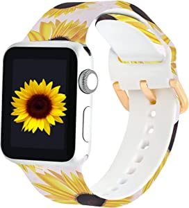 PROSRAT Floral Bands Compatible with Apple Watch 38mm 40mm 42mm 44mm for Women Men,Silicone Flower Pattern Printed Wristband for iWatch Series SE/6/5/4/3/2/1 (42mm/44mm, White Sunflower)