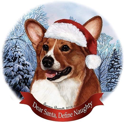 Holiday Pet Gifts Corgi Santa Hat Dog Porcelain Christmas Tree Ornament Pet Gifts USA