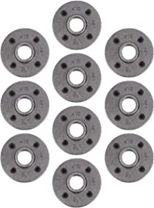 "Pipe Decor 3/4"" Malleable Cast Iron Floor Flange 10 Pack, Industrial Steel Grey Fits Standard Three Quarter Inch Black Threaded Pipes Nipples and Fittings, Vintage DIY Furniture, Ten Plumbing Flanges"