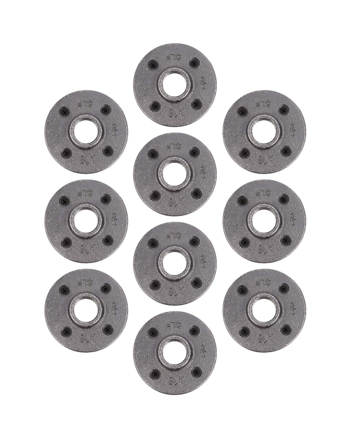 "Pipe Decor 1/2"" Malleable Cast Iron Floor Flange 10 Pack, Industrial Steel Grey Fits Standard Half Inch Threaded Black Pipes and Fittings,Vintage DIY Shelving, Ten Real AUTHENTIC Plumbing Flanges"