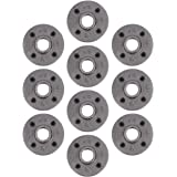 """Pipe Decor 1/2"""" Malleable Cast Iron Floor Flange 10 Pack, Industrial Steel Grey Fits Standard Half Inch Threaded Black Pipes"""