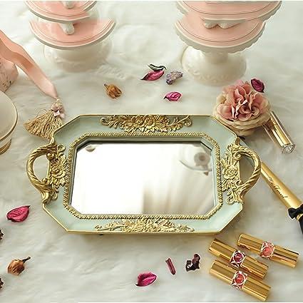 Bandejas para cosméticos,Estilo europeo Las rosas Espejada Regalos de boda marco ornamentado bandeja decorativa