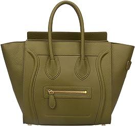 d79bed9338 Ainifeel Women s Genuine Leather Smile Top Handle Handbag Purse