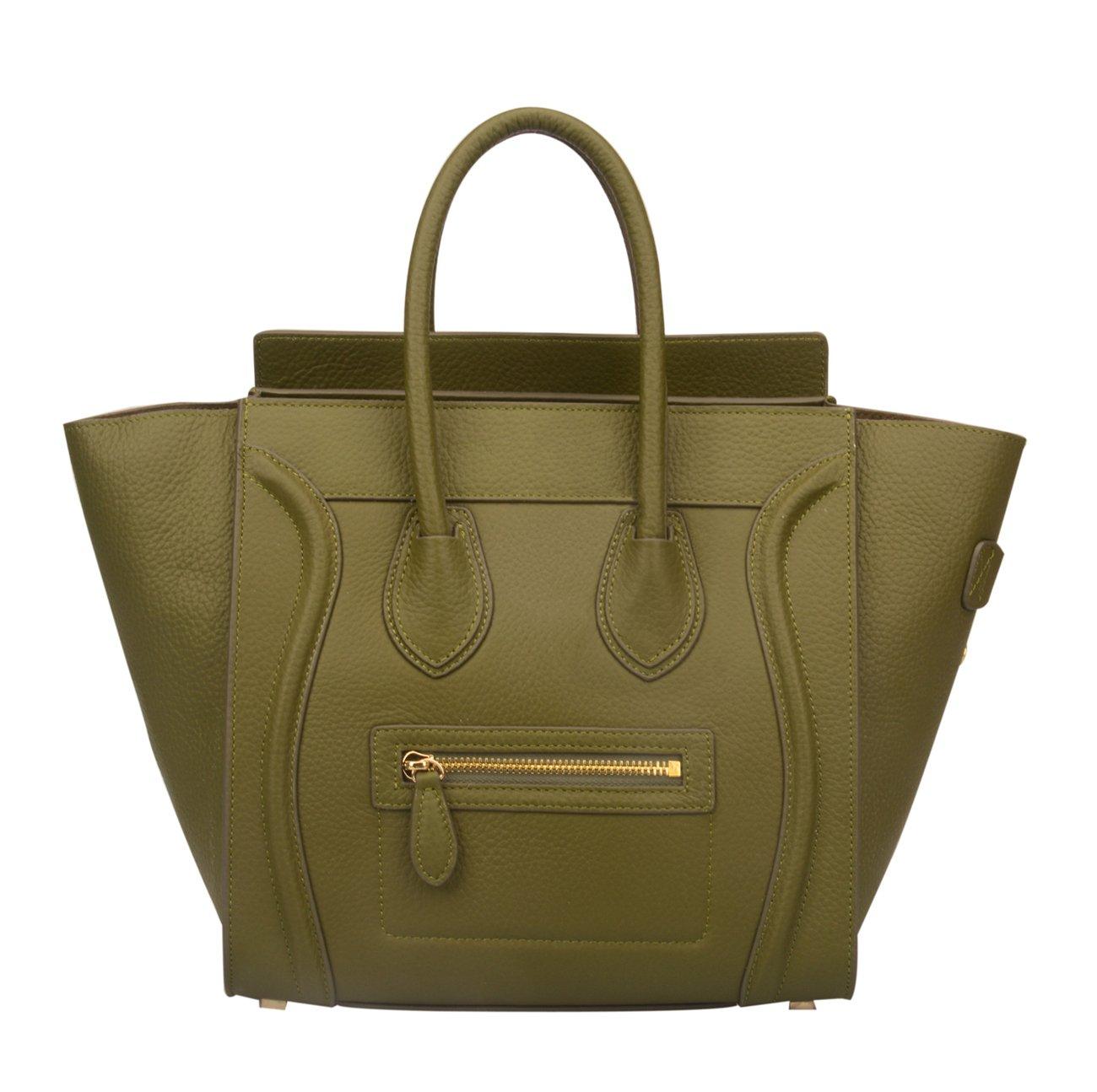 Ainifeel Women's Genuine Leather Smile Top Handle Handbag Purse (Medium, Military)