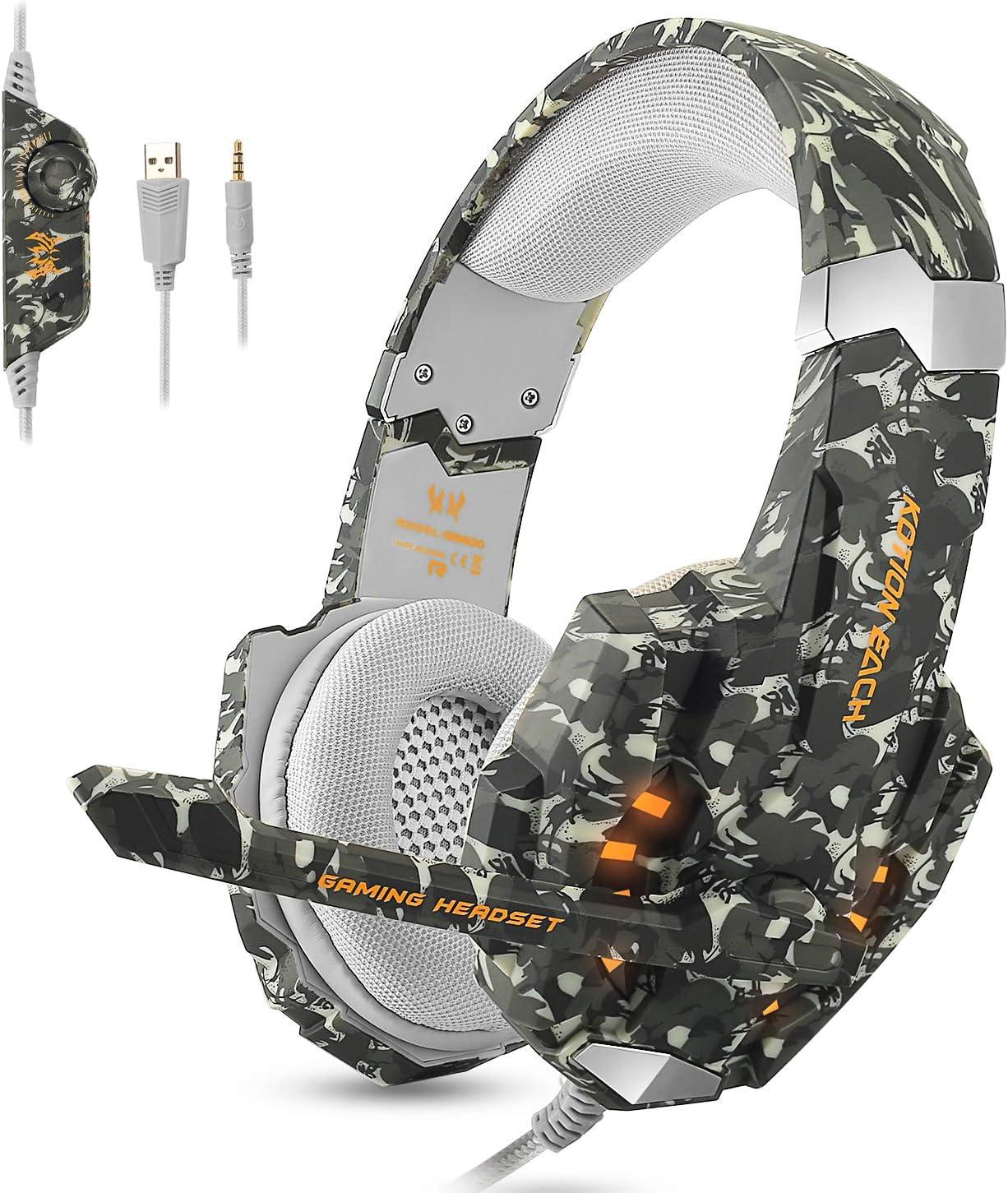 Gaming Headset per PS4 PC Xbox, Cuffia da Gaming con microfono, Luce a LED & Stereo Bass Surrounding per Mac Xbox One Tablet Laptop(Camo)