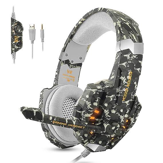 ECOOPRO Gaming Kopfhörer für PS4 Xbox PC Gaming-Headset mit Mikrofon Noise Canceling, LED Licht & Stereo Bass Headset für Mac