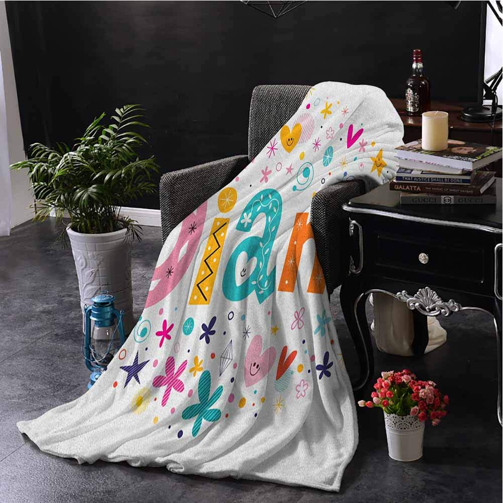 Luoiaax Diane Fuzzy Blankets King Size Festive Arrangement of Letters Baby Girl Name with Geometric Shapes Circles Rhombuses All Season Premium Fluffy Blanket W51 x L60 Inch Multicolor