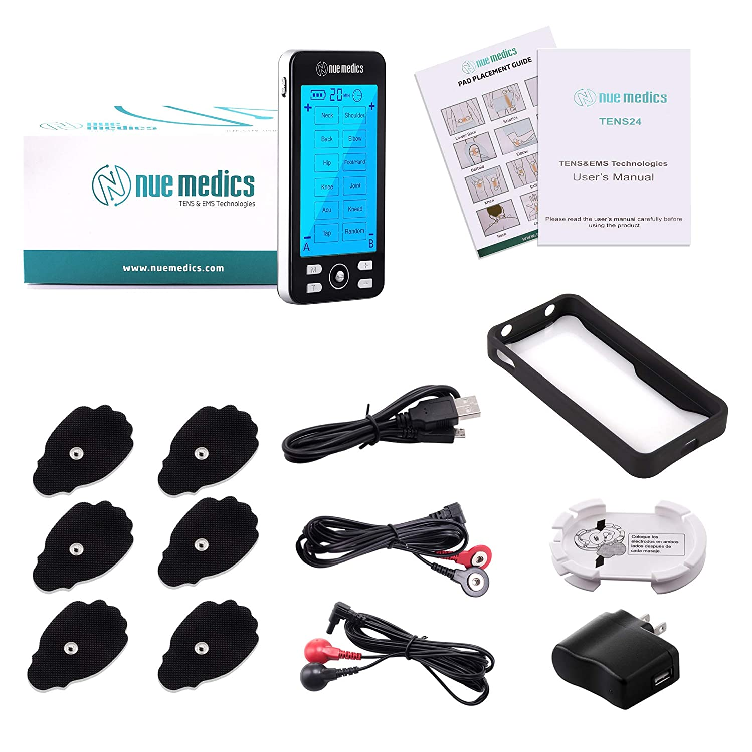 Tens Unit Machine Pulse Massager 24 Massage Modes Rechargeable Muscle Stimulator Device with 6 Large Pads for Pain Relief, Body Building Neck Back Pain Relief