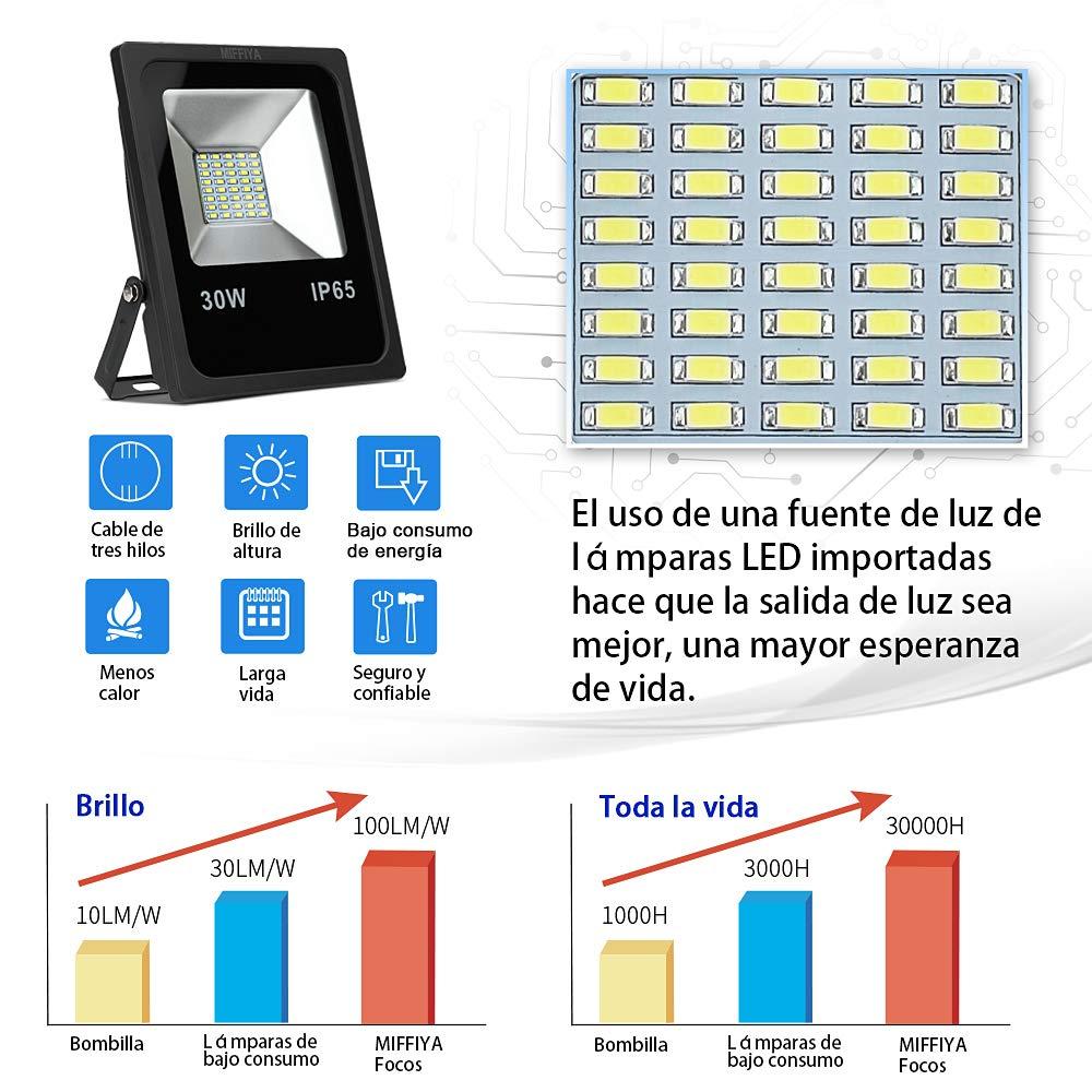 Focos LED 30W IP65 Foco reflector Superlight Floodlight 3000LM Proyector blanco frío 6000K AC 85-265V, iluminación exterior ideal para jardín, ...