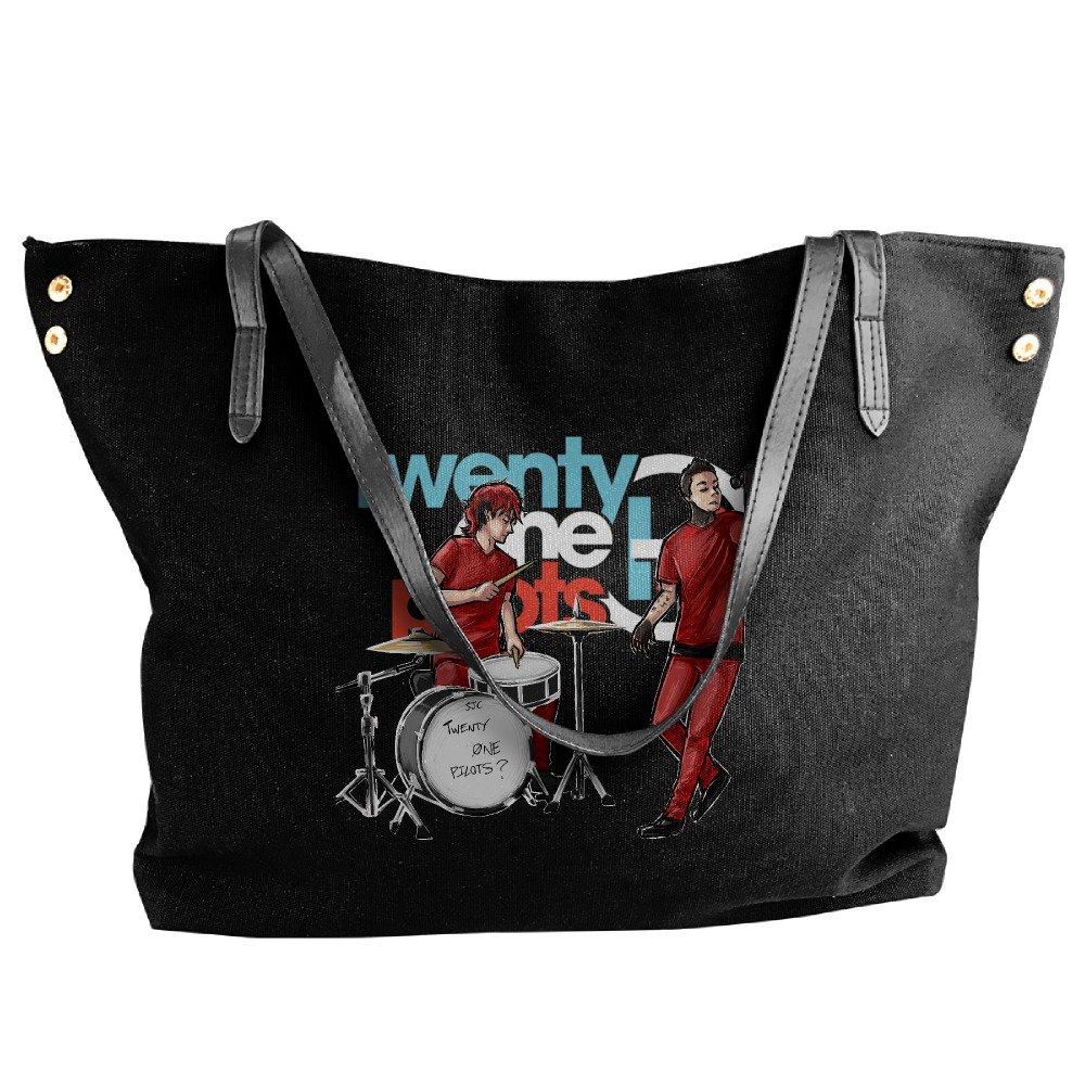 Twenty One Pilots Cartoon Design Tote Bag For Women Canvas Shoulder Handbags