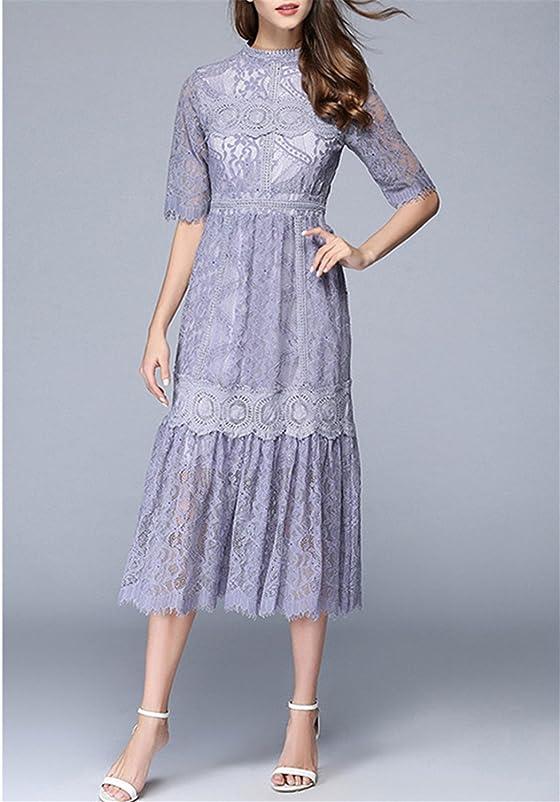 Amazon.com: MinxilUgd European Style Women Dress NEW Summer Lace Holllow Out Half Sleeve Elegant Party Dress Vestidos: Clothing