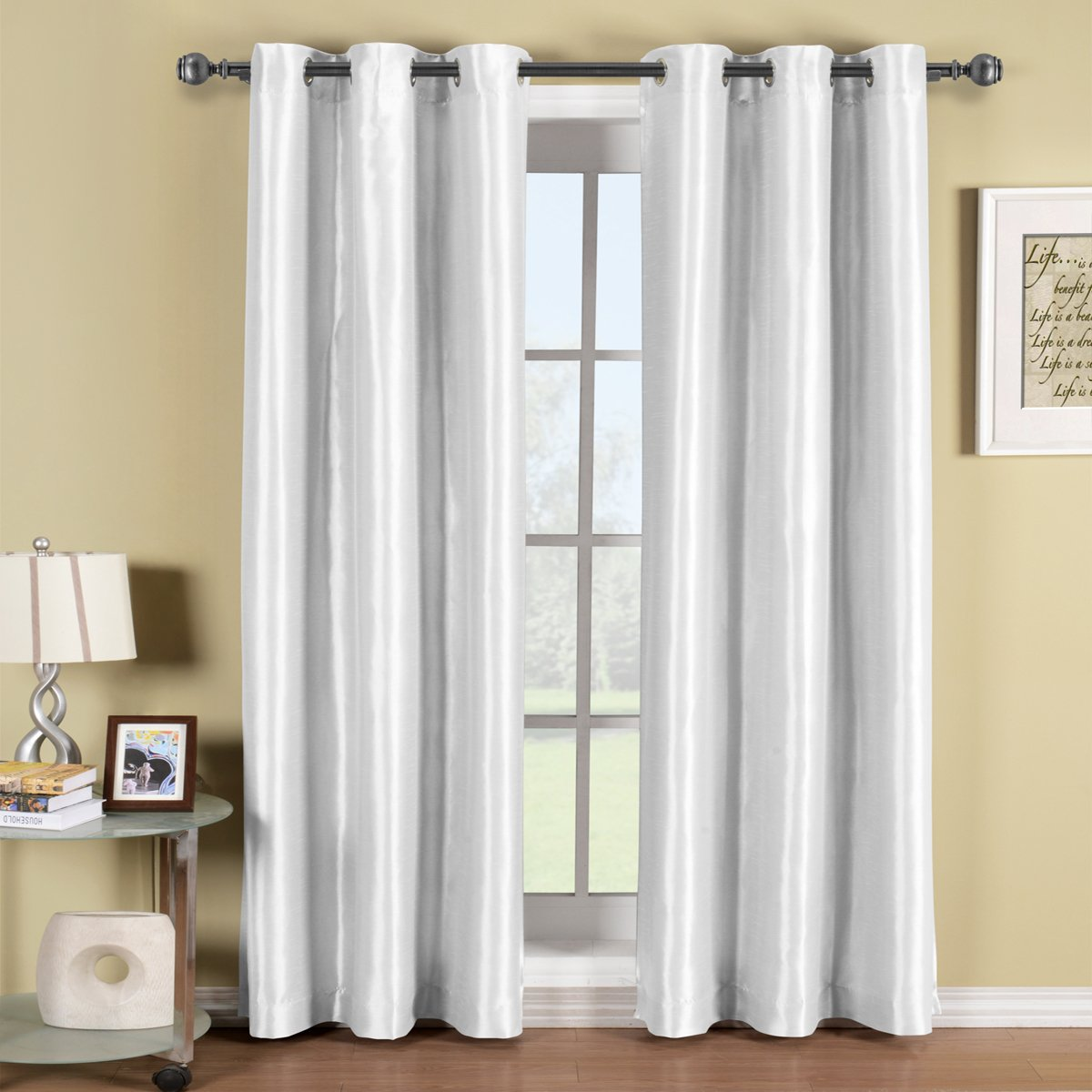 One White Top Grommet Blackout Curtain Panel, Triple-Pass Foam Back Layer, Elegant and Contemporary Soho 63 Inches Blackout Panel