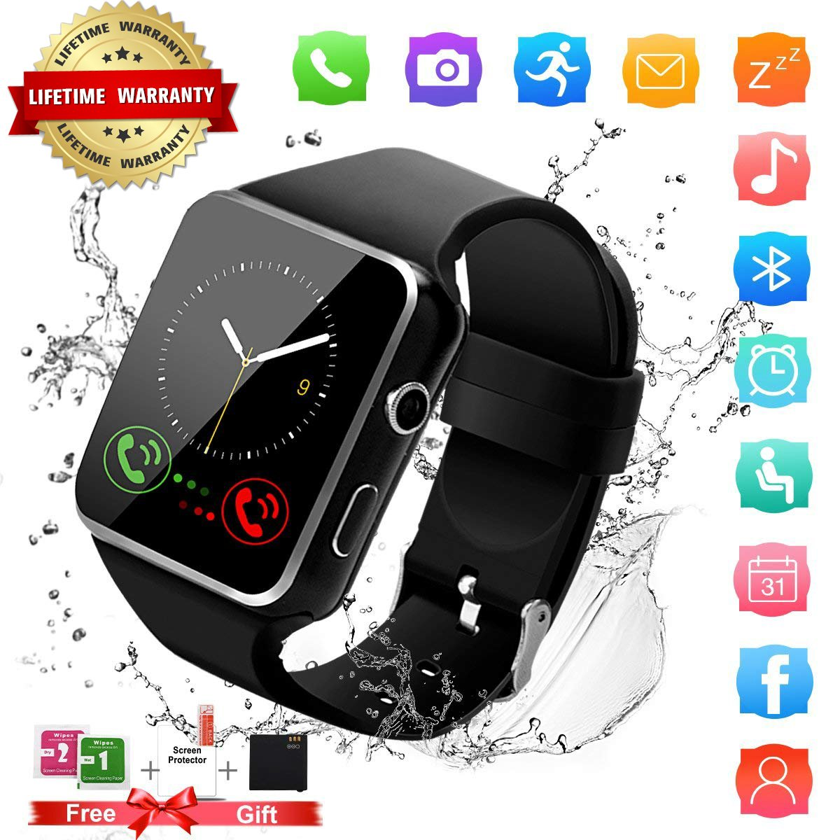 Smart Watch,Bluetooth Smartwatch Touch Screen Wrist Watch with Camera/SIM Card Slot Waterproof Android Smart Watch Sports Fitness Watch for Android iPhone IOS Samsung Phones Watch Men Women Kids Black