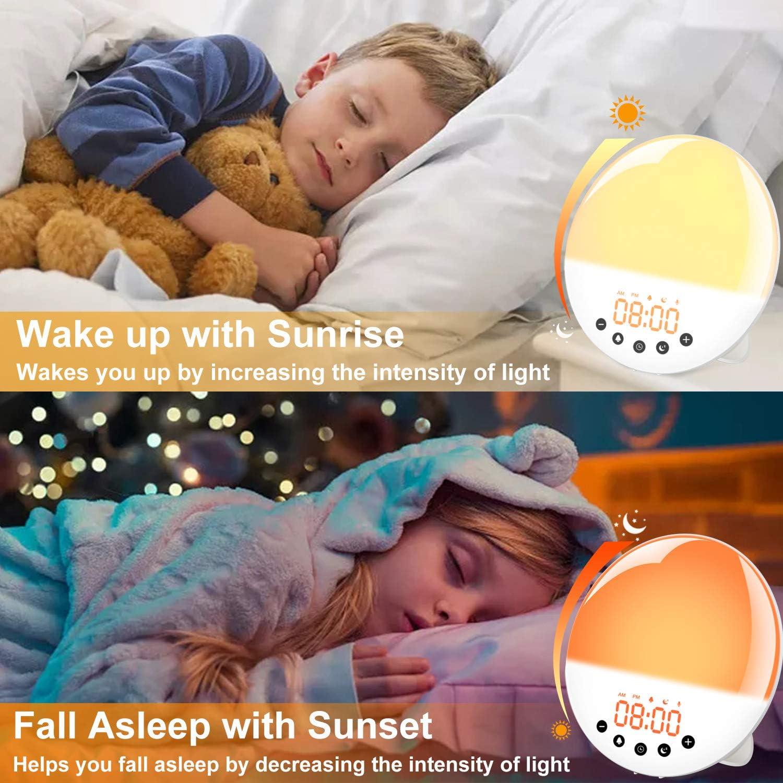 Maozua Radio FM sveglia digitale radio sveglia comodino sveglia luce con 7 colori funzione snooze e sonno timer simulato alba e tramonto caricatore USB 1.9 inch controllo touch