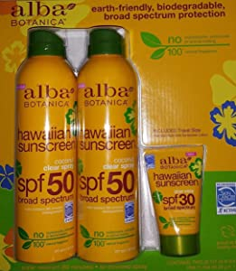 Alba Botanica Hawaiian Sunscreen Spray SPF50 with Travel Lotion SPF 30