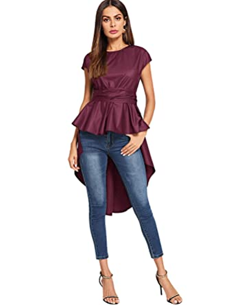 630174f1f31 Romwe Women s Asymmetrical High Low Ruffle Blouse Self Tie Party Tops at  Amazon Women s Clothing store