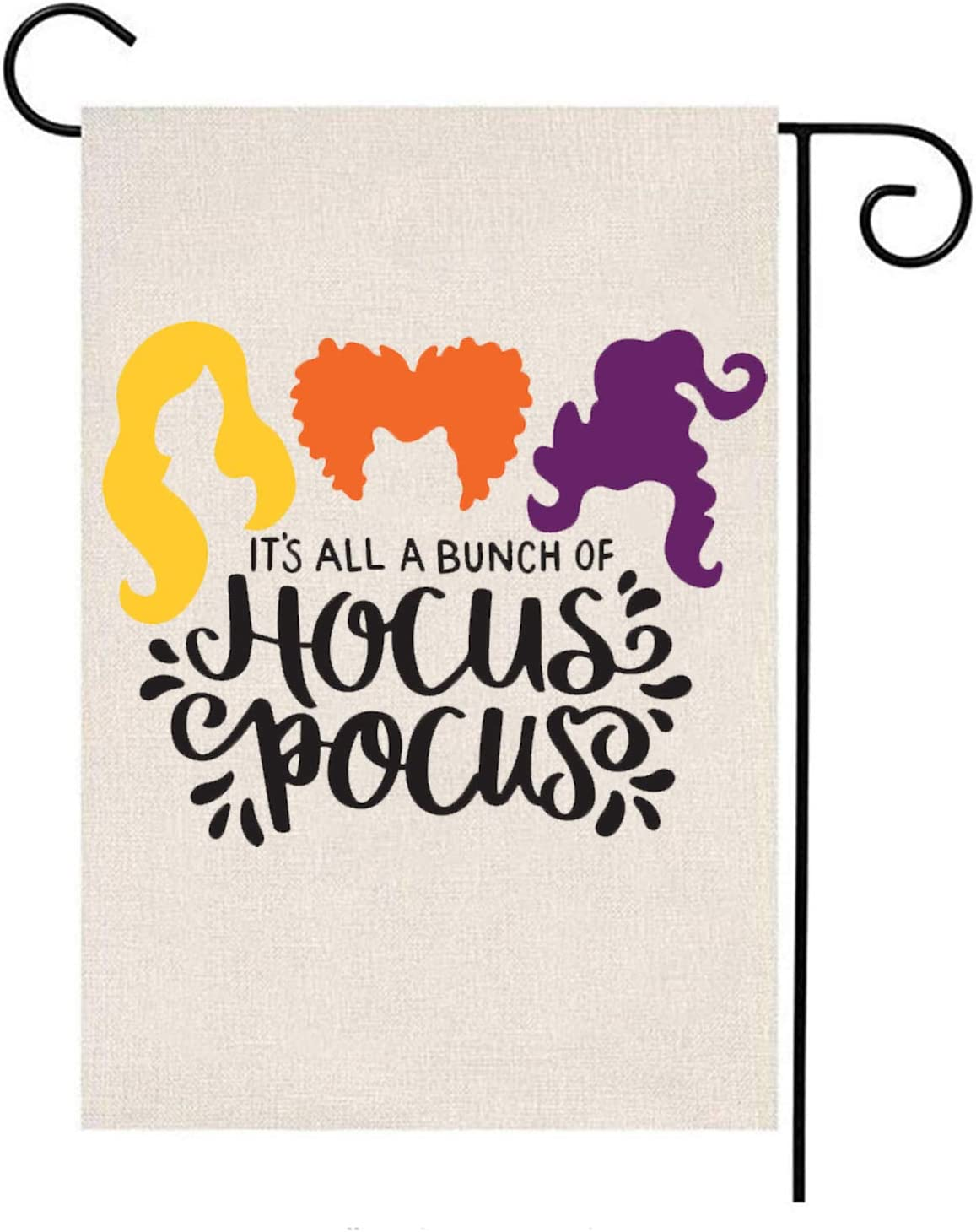 MFGNEH It's All A Bunch of Hocus Pocus Double Sided Sanderson Sisters Halloween Decorations Garden Flag Burlap Yard Banner Lawn Outdoor Decor 12 x 18 Inch,Halloween Decor