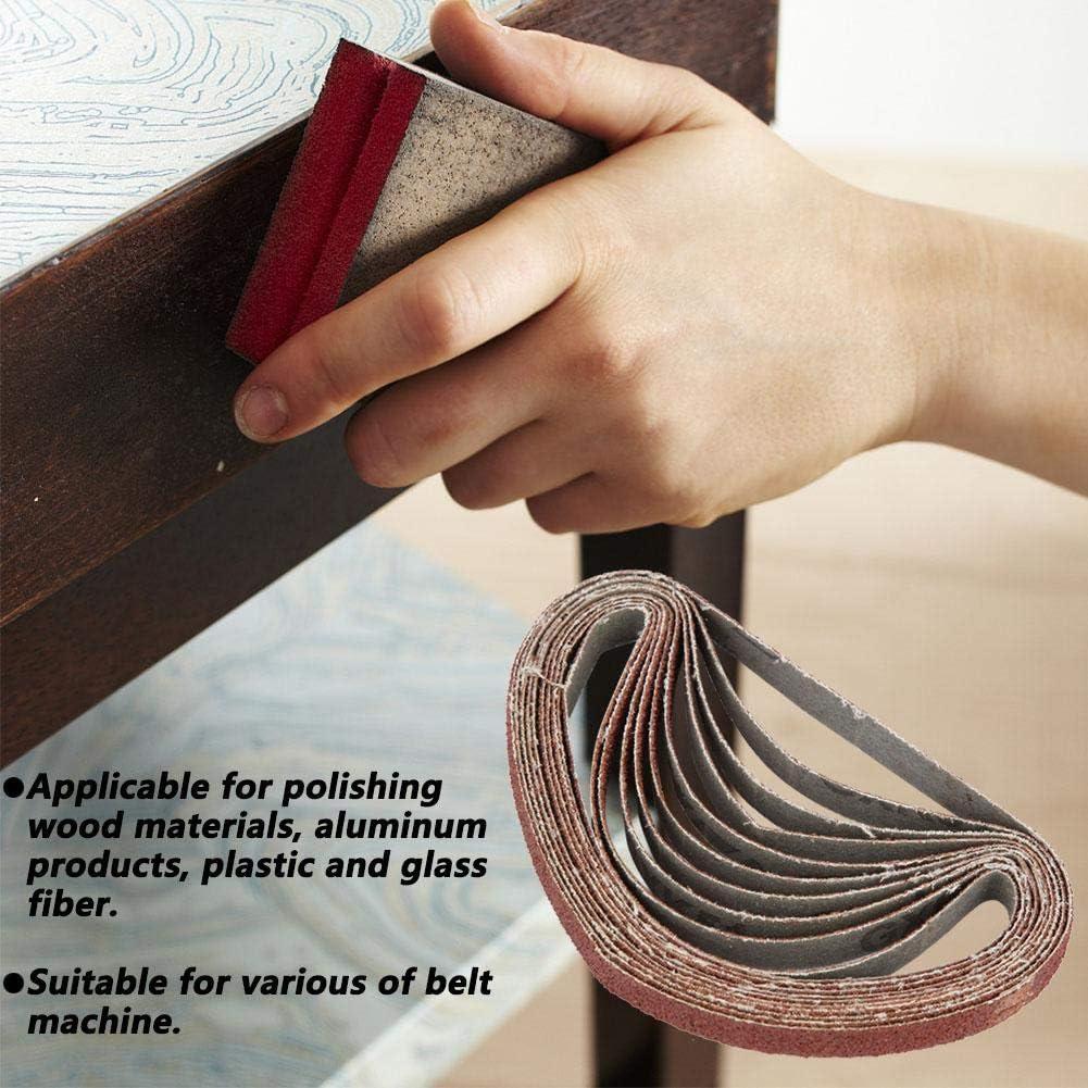 330 Red #60 10mm Abrasive Belt DIY Polishing Grinding Belt Sanding Belt for Woodworking Metal Polishing Sander Attachment