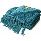 Decorative Thick Chenille Throw Blanket for Couch Throws Sofa Cover Soft Bedding Throw Blanket with Fringe, 60 x 50 Inch, Teal