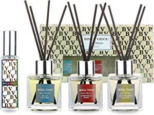 Reed Diffuser Set of 3, Binca Vidou Portable Perfume Diffuser Scented Sticks for Office Decor Home Fragrance Product 1.7oz x 3