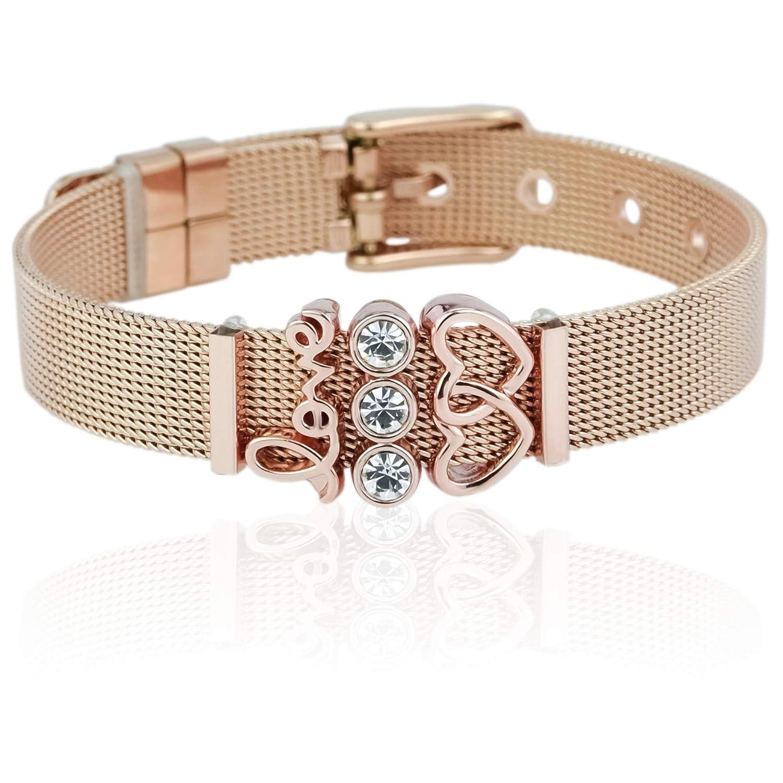 SUNIANA - Mesh Armband Set mit Charms || Lovestory || individuell erweiterbar SET-001