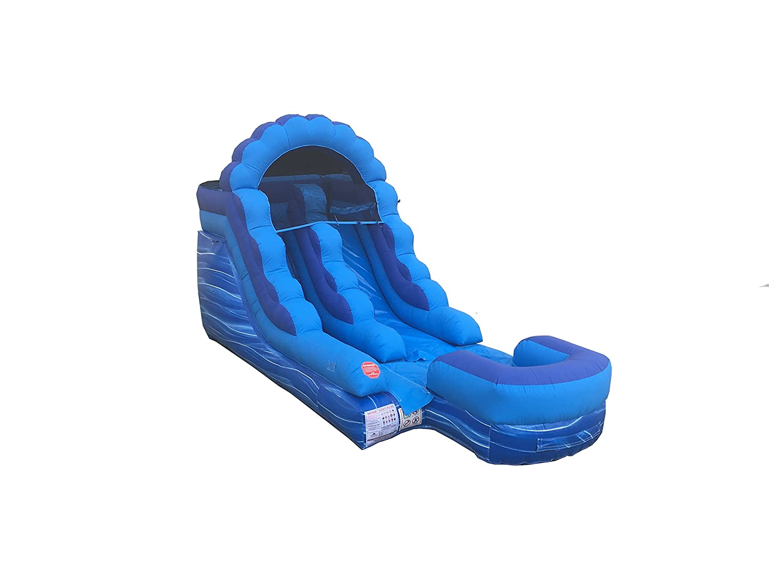 Amazon com tentandtable 12 foot blue marble inflatable water slide wet dry commercial grade 1 0 hp blower stakes included toys games