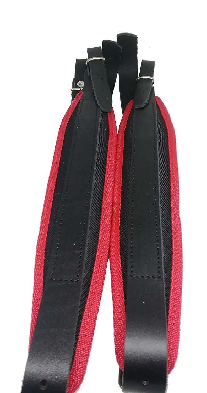 Paire de bretelles courroies en cuir pour accordéon 60-120 noir