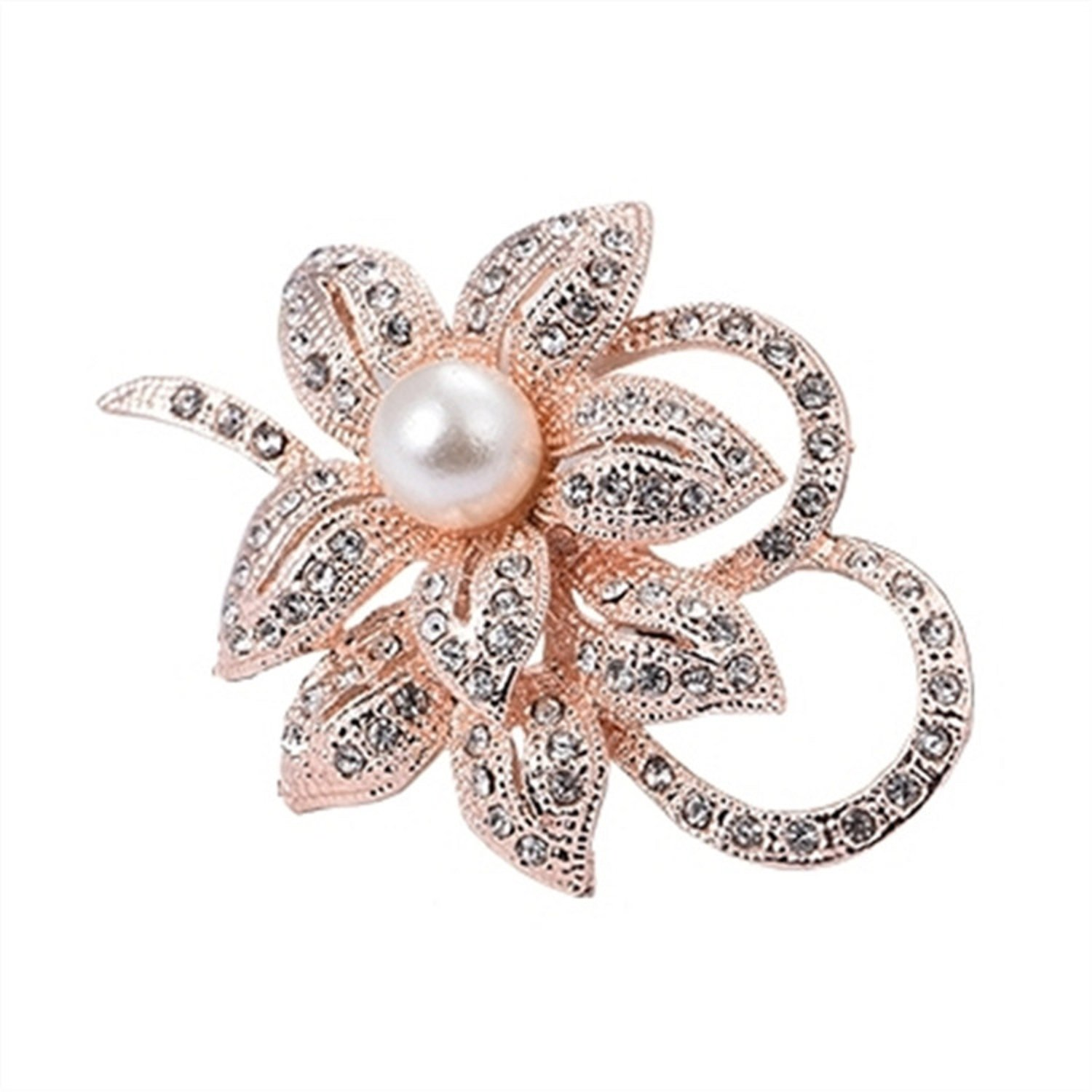 Jewby Fashionable Brooch Pins for Women Bouquet Flower Wedding Created Crystal Brooch (Rose gold)