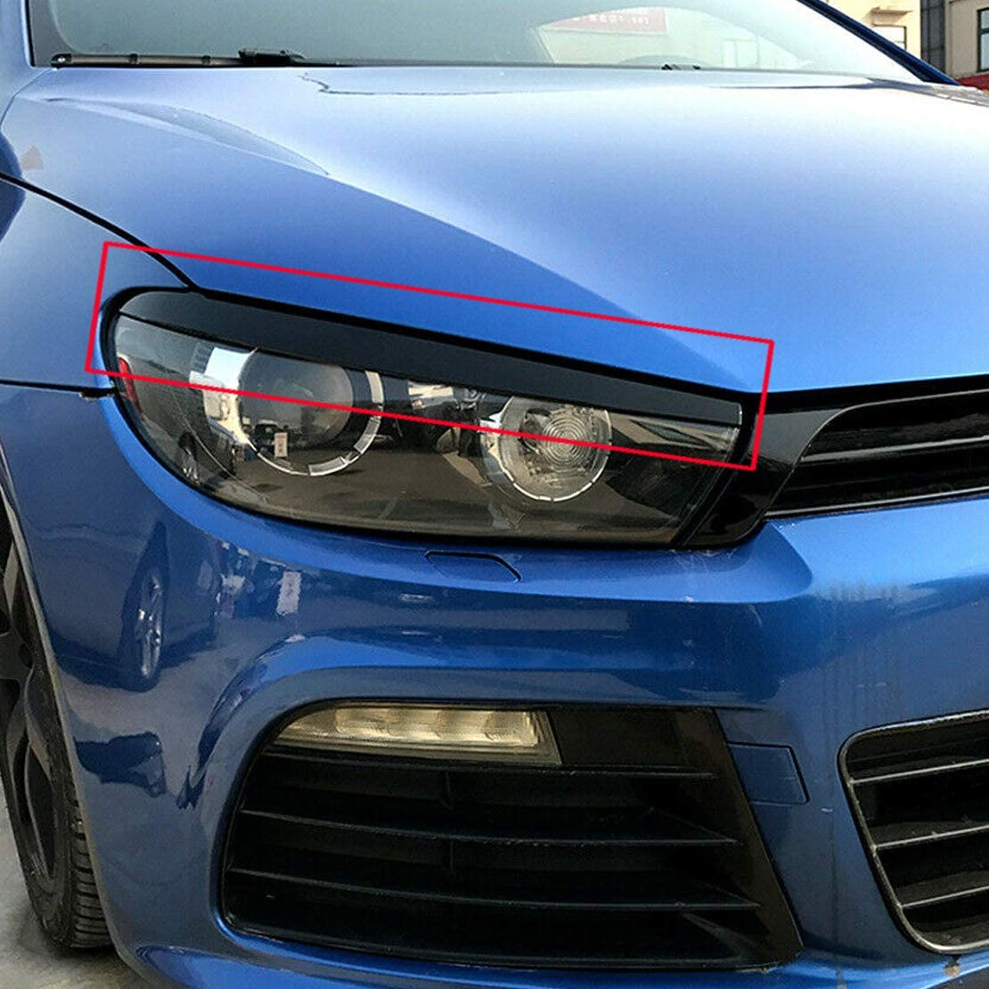 LETAOSK 1Pair Front Head Light Lamp Eyebrow Trim Fit For VW Scirocco 2009-2017
