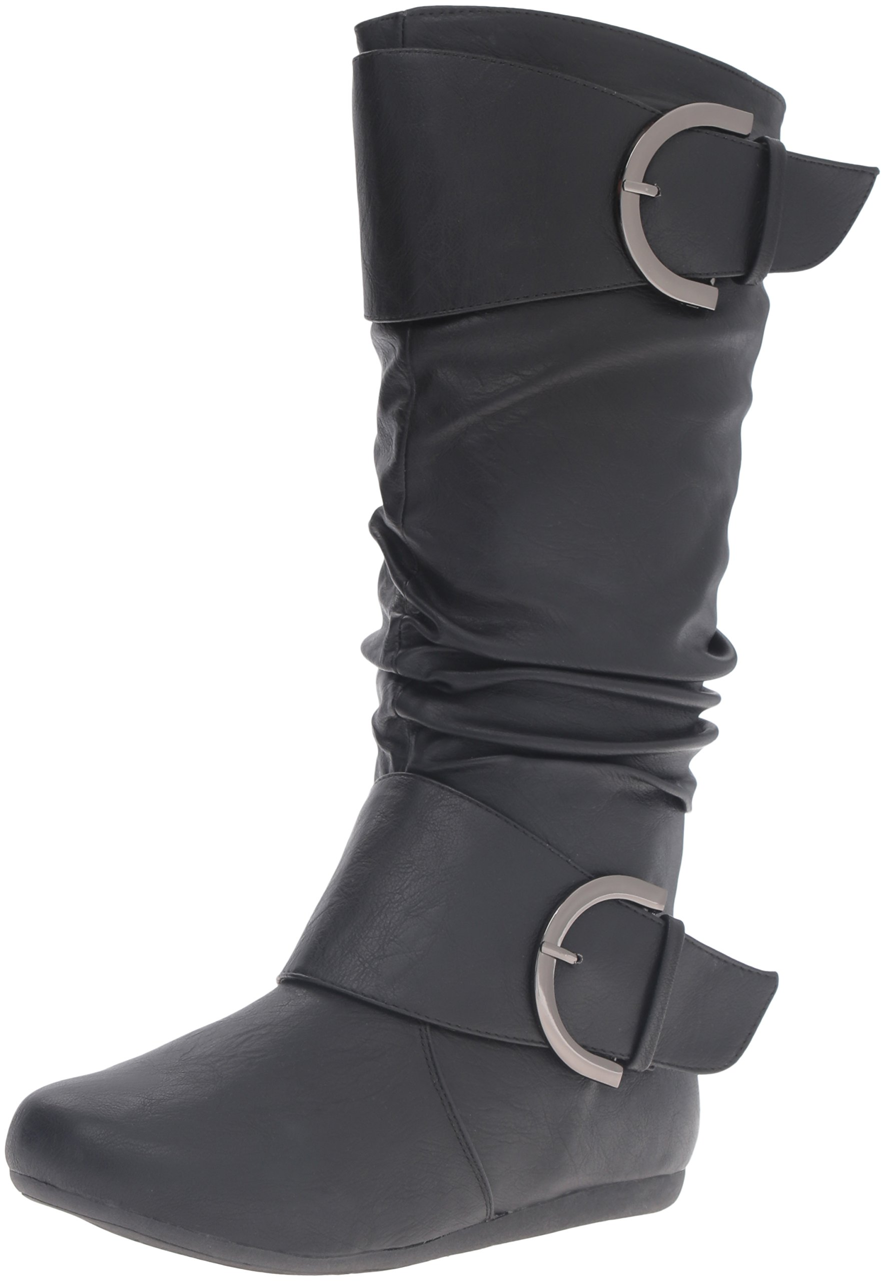 Top Moda Women's Round Toe Slouchy Boot with Buckle, Black, 5