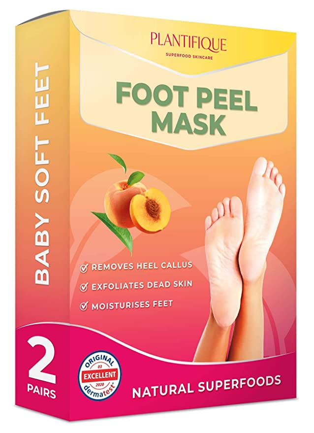 Dermatologically Tested - Peach Foot Peel Mask - 2 Pairs - Effective For Cracked Heels Repair, Remove Dead Skin, Callus & Dry Toe Skin - Baby Soft Feet - Exfoliating Peeling Natural Treatment   Amazon