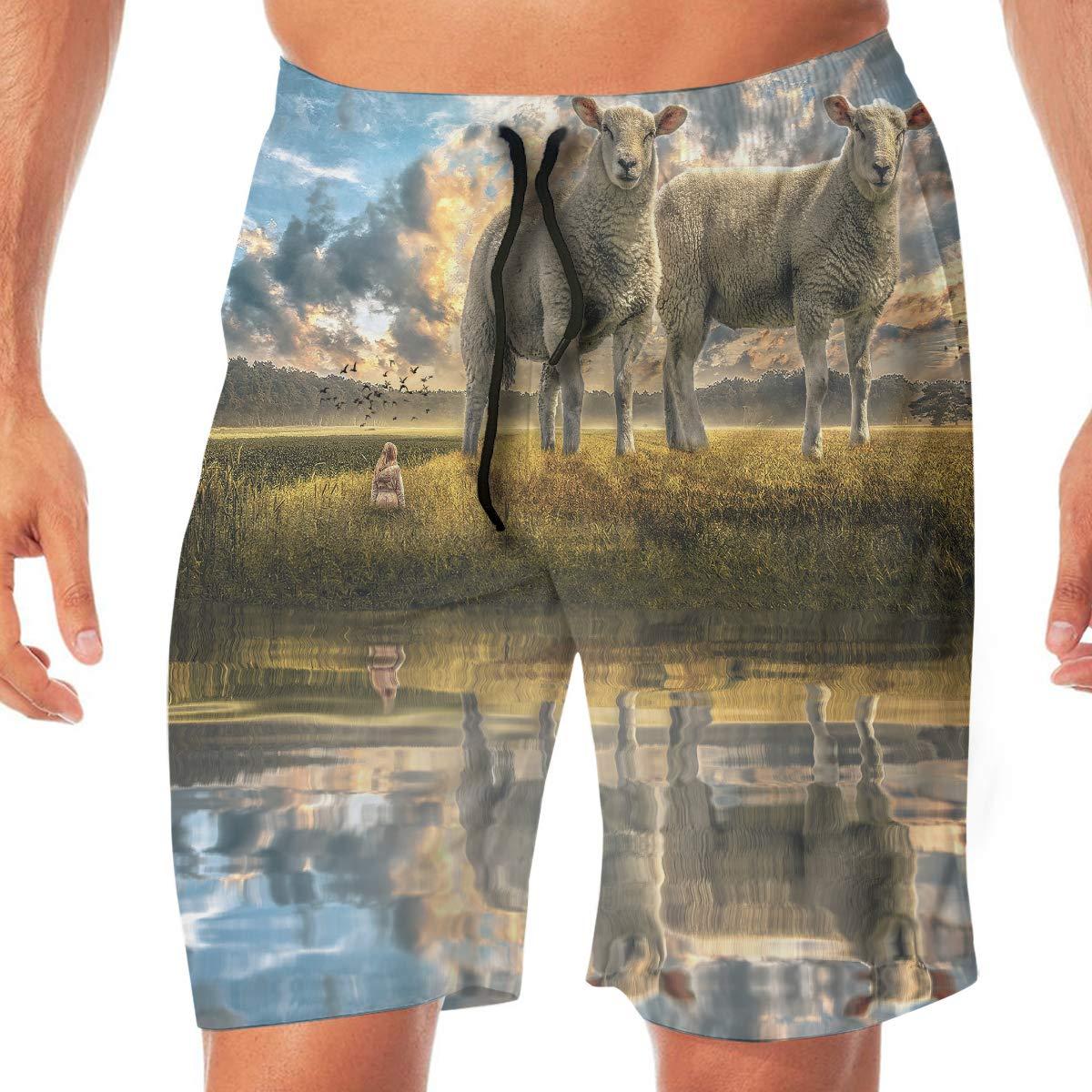 Zhiwei Station Sheep Mens 3D Printed Funny Swim Trunks Quick Dry Beachwear Sports Running Swim Board Shorts