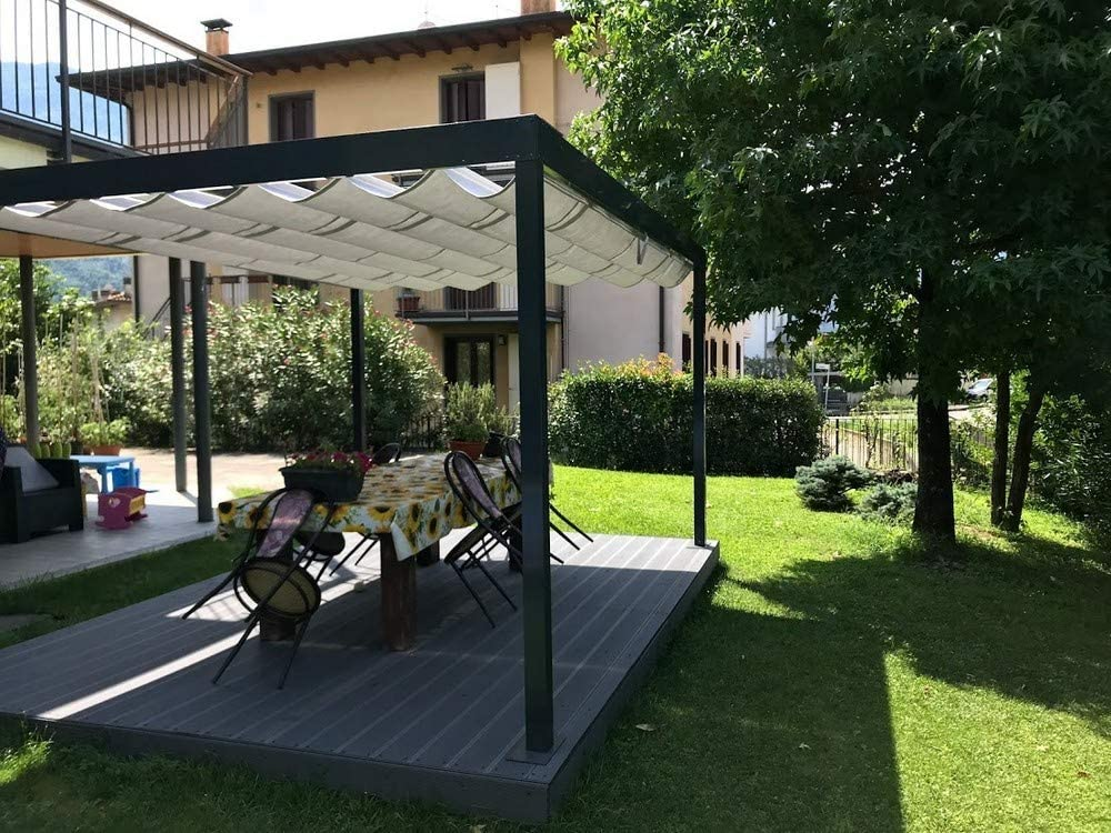 QEEQ.IT - Pérgola retráctil 4 x 3, Estructura Antracita y Tela ...