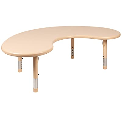 "Flash Furniture 35""W x 65\""L Half-Moon Natural Plastic Height Adjustable Activity Table: Kitchen & Dining [5Bkhe0301510]"