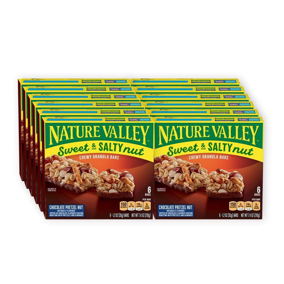 Nature Valley Granola Bars, Sweet and Salty Nut, Chocolate Pretzel Nut, 7.4 Ounce (Pack of 12) - One Pack contains 6 Bars of 1.2 Ounce each