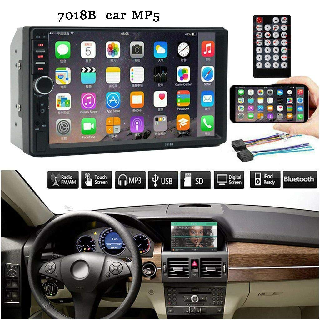 Keshangda 7 Inch Double Din Car Stereo MP5 MP3 Player with Bluetooth/AM/FM/USB/AUX in/Rear View/Mirror Link/Camera, Support Steering Wheel Control