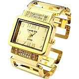 Top Plaza Women's Square Dial Rhinestones Bracelet Watch Cuff Bangle Watch