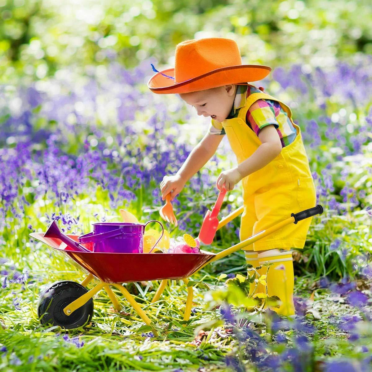 Heize best price Red Kids Metal Wheelbarrow Children's Size Outdoor Garden Backyard Play Toy by Heize best price (Image #5)