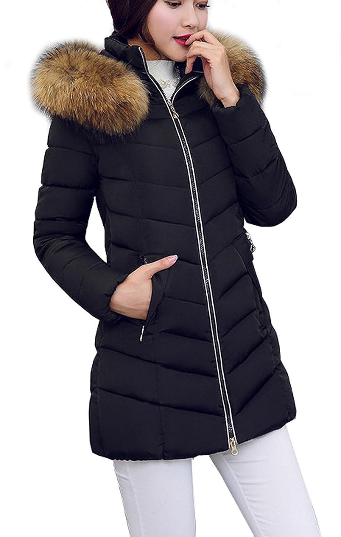 Arkind 2017 Piumino cappotto medio lungo imbottito di cotone di piuma con pelliccia faux simulato rimovibile da donna invernale