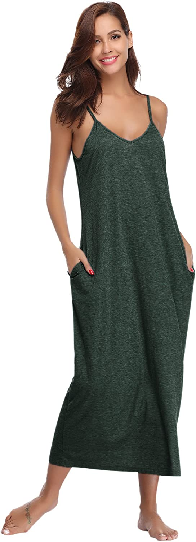 TALLA XL. Aibrou Vestidos Mujer Algodón Verano,Vestidos de Playa sin Mangas Falda Largo Sexy Elegante y Comodo Dress para Playa Casual Caminar Diario Compras Verde#1 XL