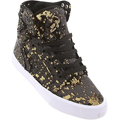 f29ed7ff4c5a Supra Women s Skytop Black Gold Sequence Sneaker ...