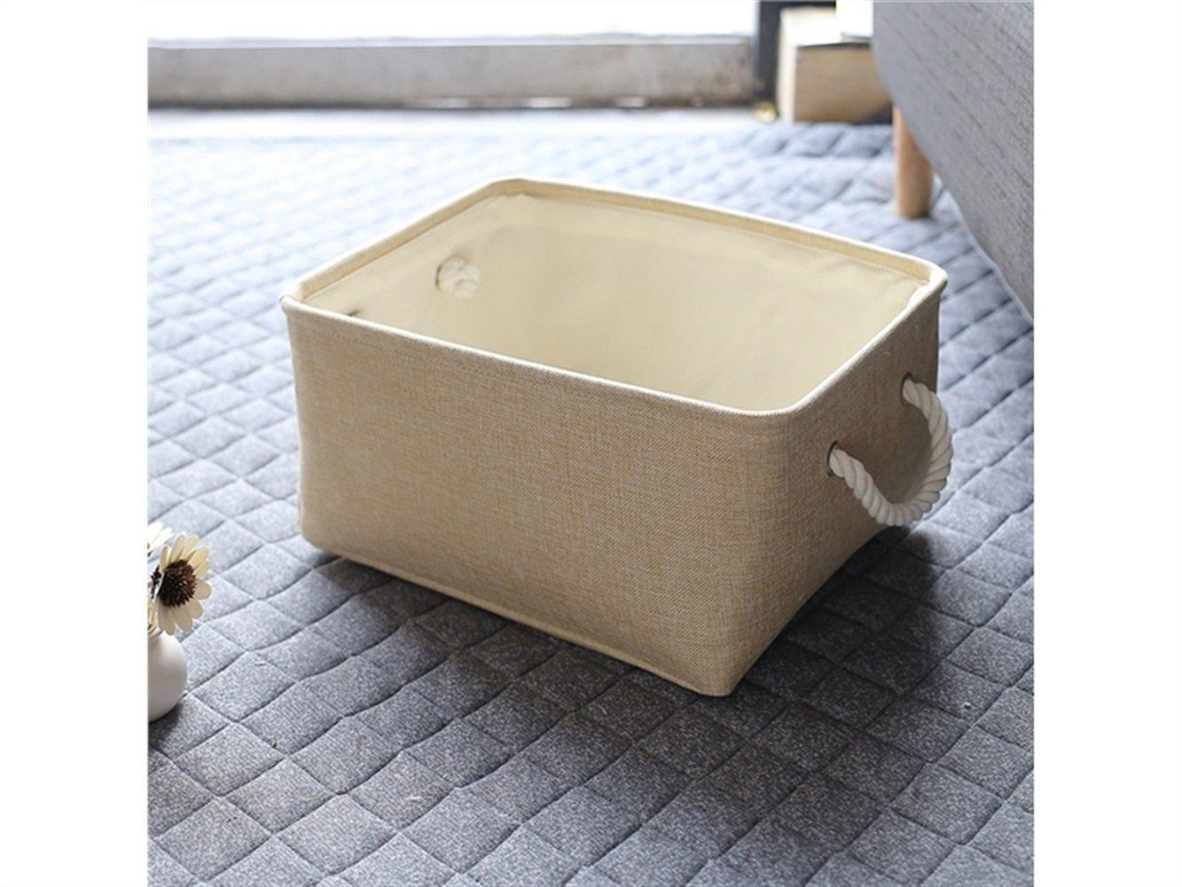 Gelaiken Lightweight Square Hand Storage Box Cotton and Linen Box Jewelry Stationery Cosmetic Case Sundries Storage Box(Light Brown)