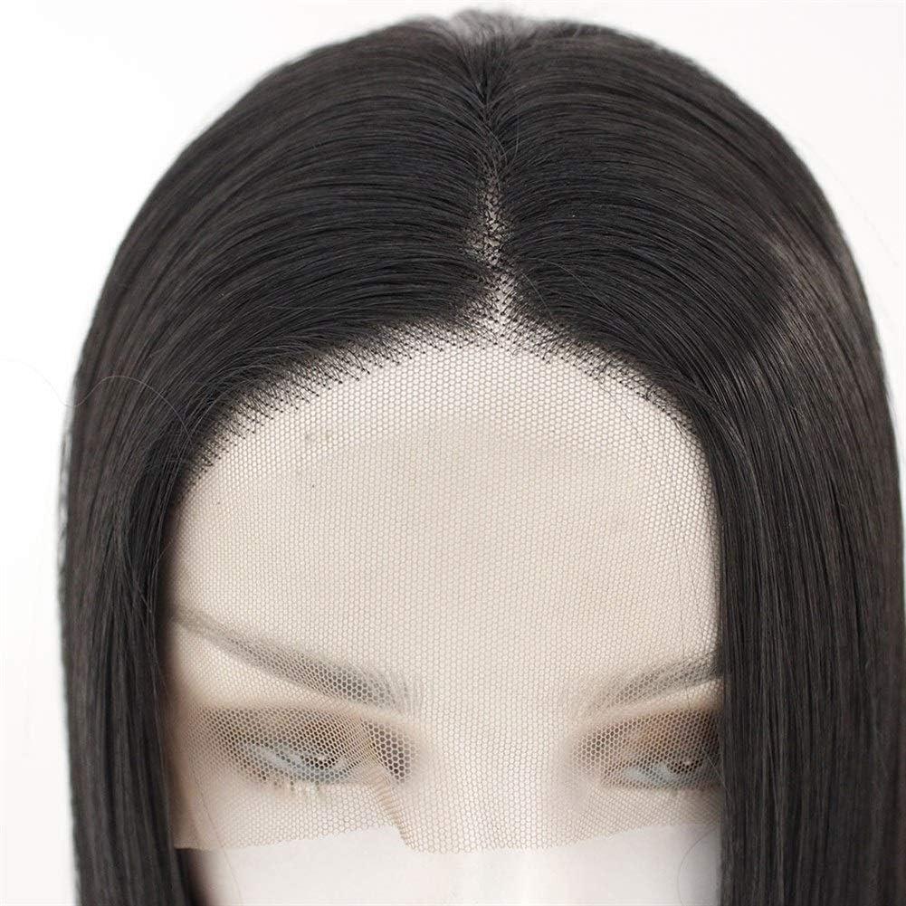 Wangzhi Perruque cheveux raides à haute température Noir 76,2 cm.