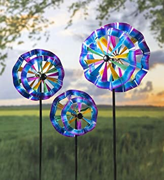 Plow U0026 Hearth Colorful Ruffled Garden Wind Spinner, Set Of 3 (Small, Medium